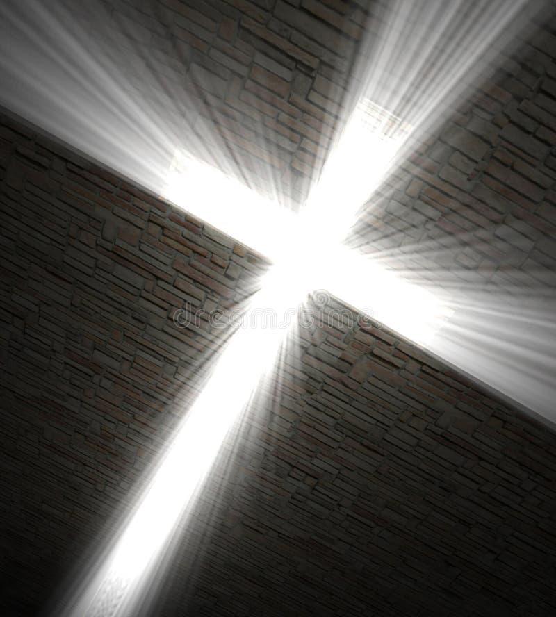 Traversa cristiana di indicatore luminoso fotografie stock