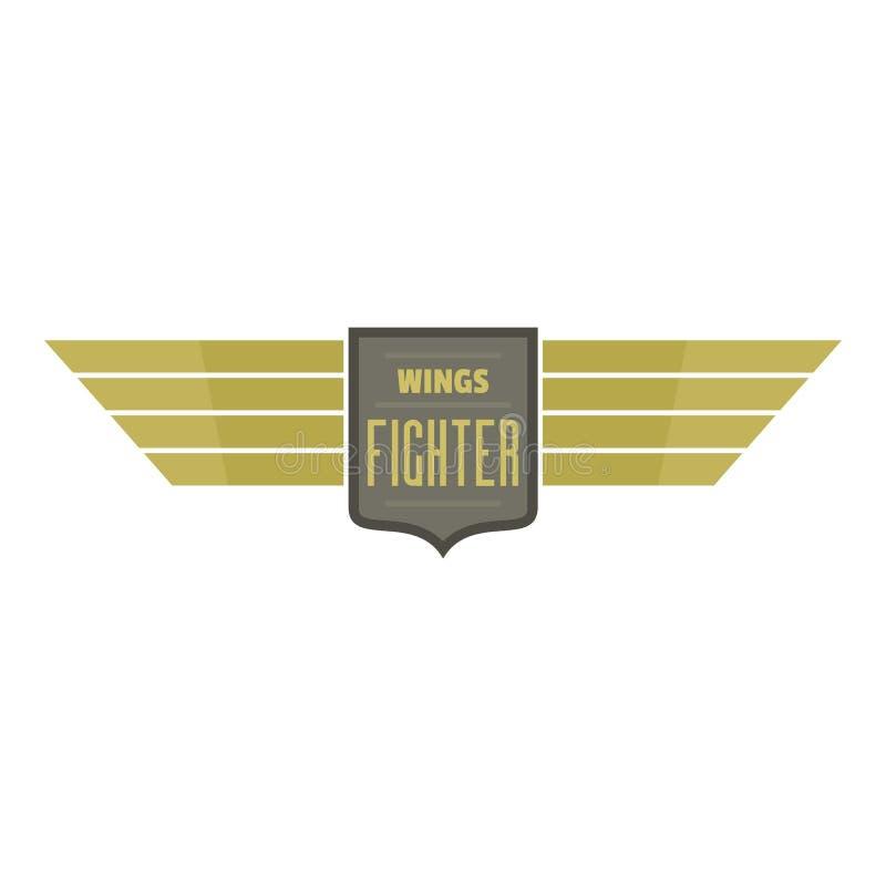 Traversa il logo volando dell'icona del combattente, stile piano illustrazione di stock