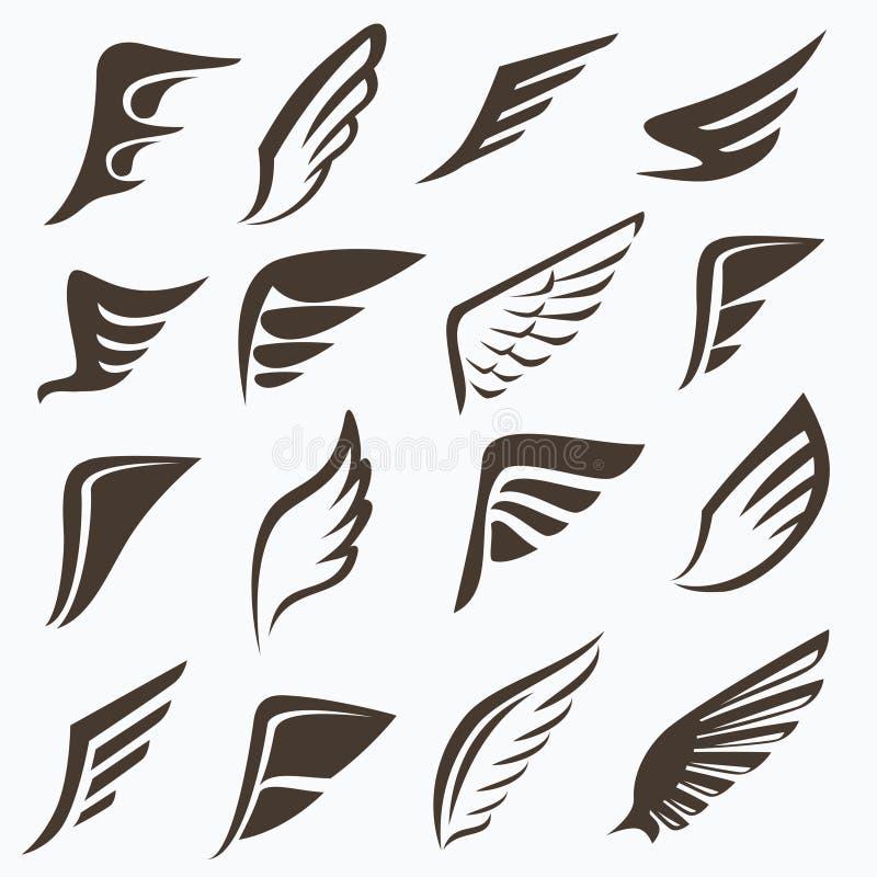 Traversa la raccolta volando, insieme degli elementi per il logo illustrazione vettoriale