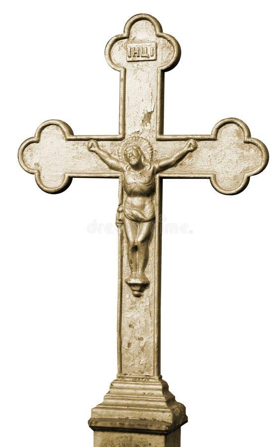 Traversa santa cristiana antica isolata fotografia stock
