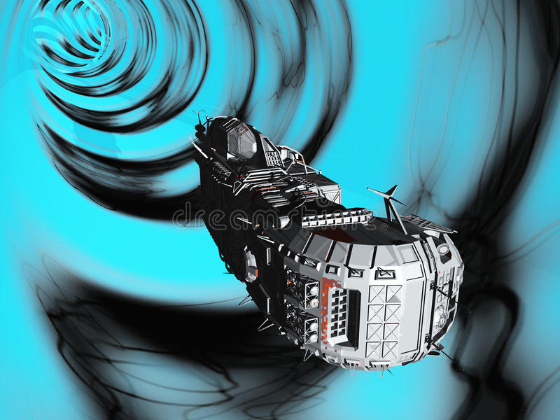 Traversing the wormhole. Science fiction spacecraft travelling faster than light by traversing wormhole in space royalty free illustration