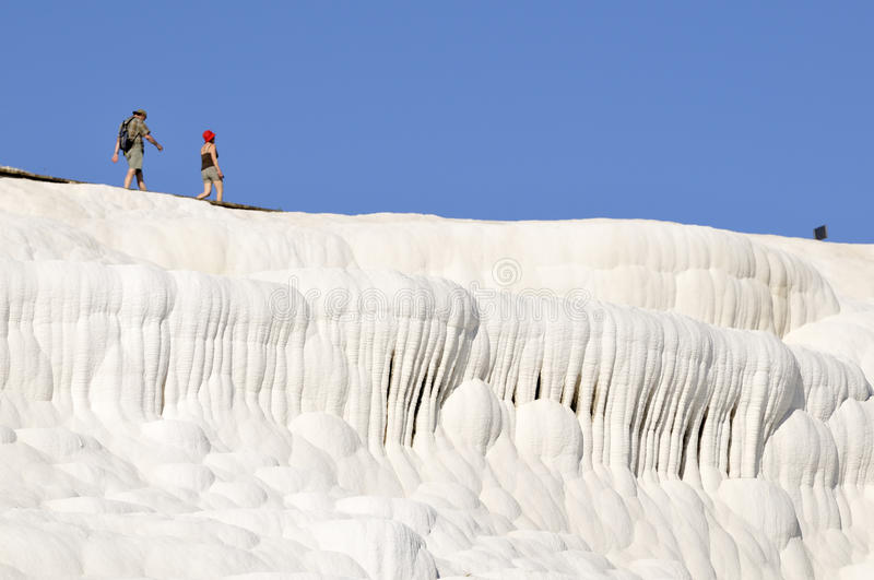 travertin sur la marche, Pamukkale photographie stock libre de droits