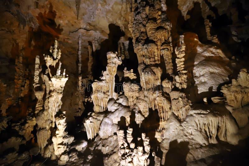 Travertine in cave. Aynali Gol Cave in Mersin, Turkey stock photos