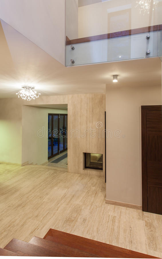 Travertine house - hallway royalty free stock image