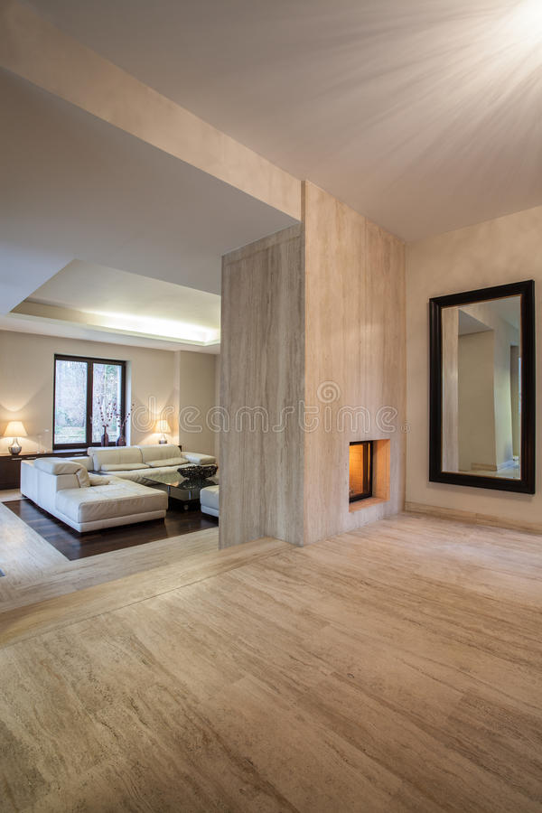 Travertine house: Interior royalty free stock image