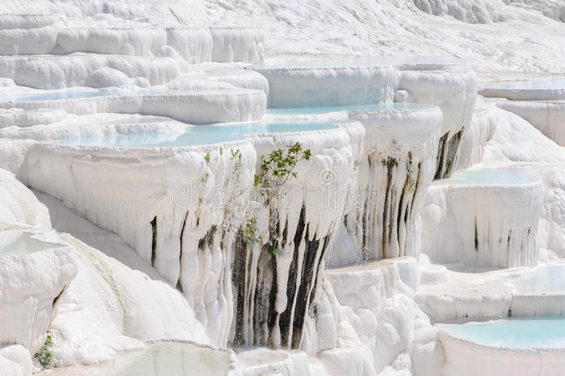 Travertine pools and terraces in Pamukkale, Turkey royalty free stock images