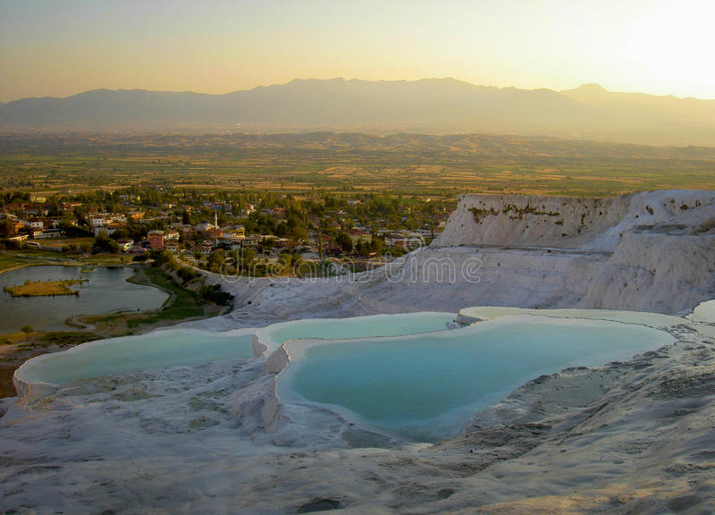 Travertine terraces in Pamukkale stock photo