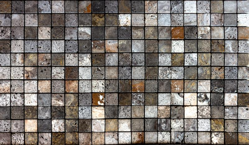 Travertine tile ceramic, mosaic square design seamless texture. Background royalty free stock images