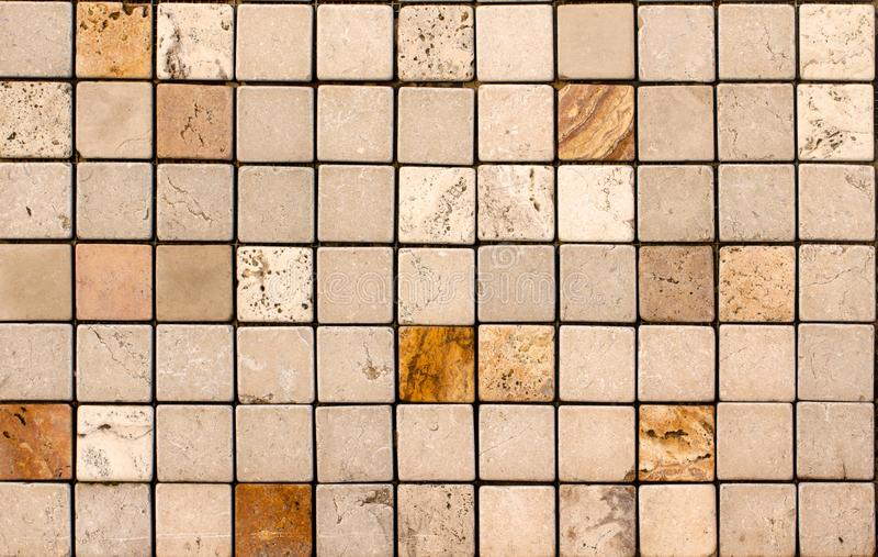 Travertine tile ceramic, mosaic square design seamless texture. Background royalty free stock image
