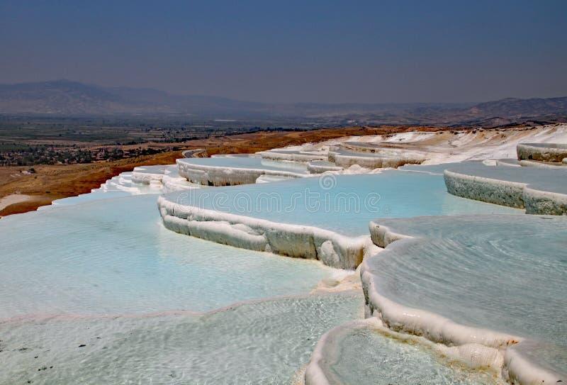 Travertines i Turkiet Kalksten sättas in av Hot Springs och skapar terrasser av tips av blått vatten royaltyfri fotografi