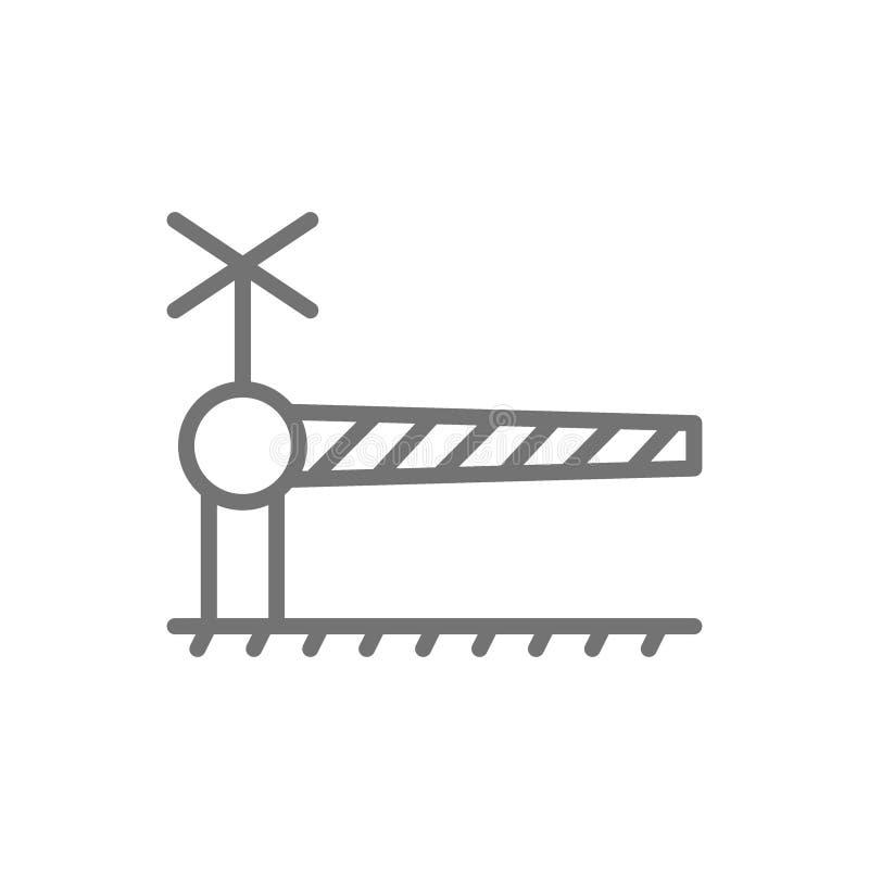 Traves?a de ferrocarril con la barrera, l?nea icono de la puerta de seguridad ilustración del vector