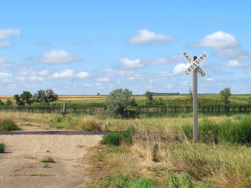 Travesía de ferrocarril del camino de tierra y de la pradera fotografía de archivo