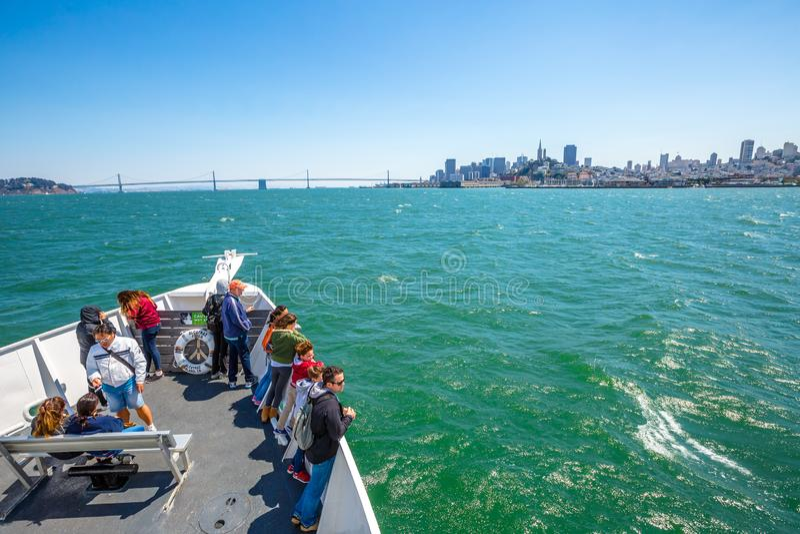 Travesía del barco de Alcatraz Flayer foto de archivo libre de regalías