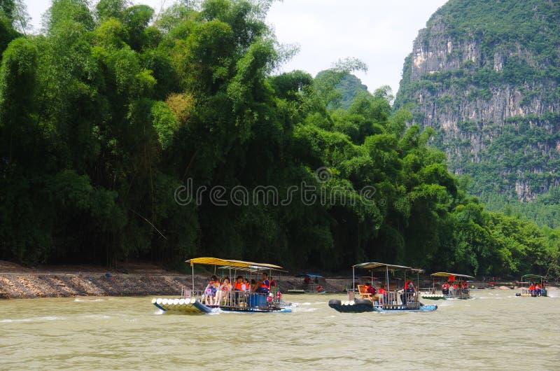 Travesía del río de China Guilin Li foto de archivo libre de regalías