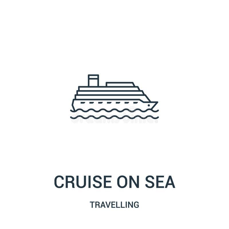 travesía en vector del icono del mar de la colección que viaja Línea fina travesía en el ejemplo del vector del icono del esquema stock de ilustración
