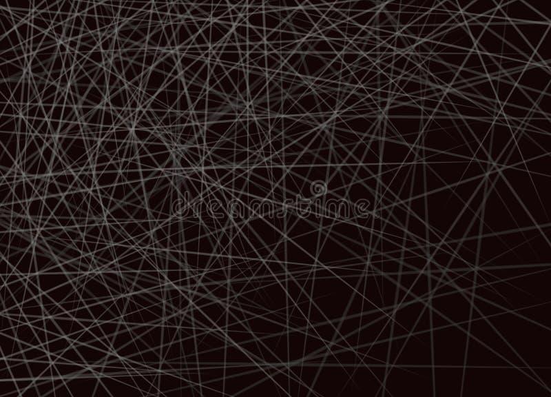Travesía horizontal de las líneas blancas en fondo negro stock de ilustración
