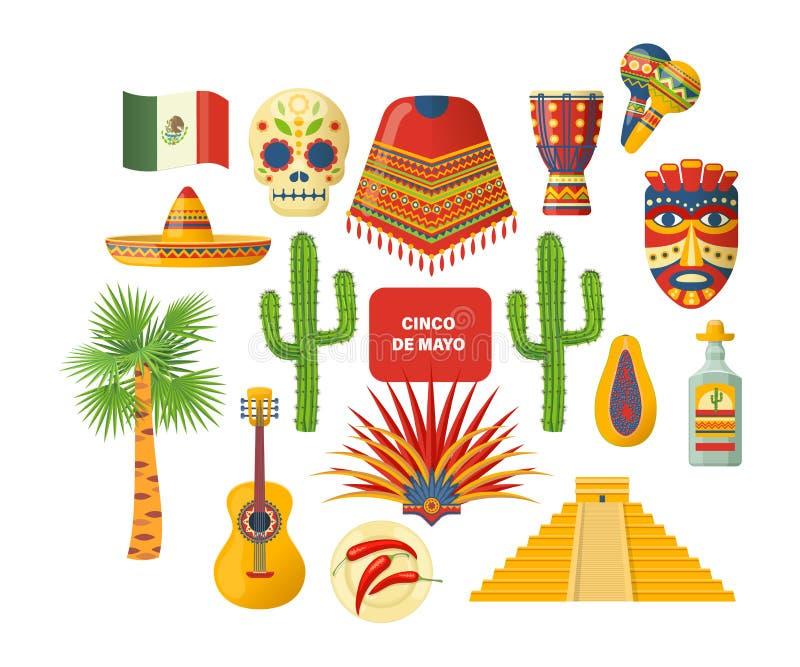 Travestimento di carnevale nel Messico Festa con i costumi, musica, cultura, tradizioni illustrazione vettoriale