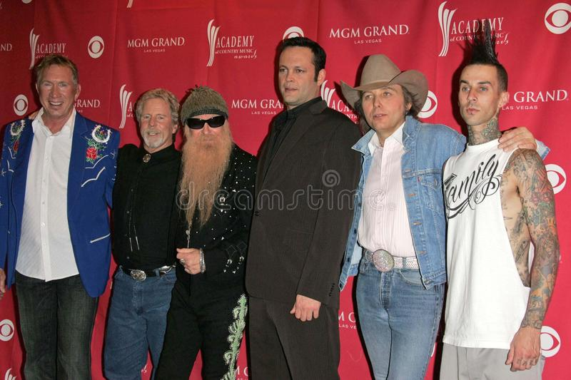 Travis Barker, Chris Hillman, Billy gibony, Vince Vaughn, Dwight Yoakam obraz stock