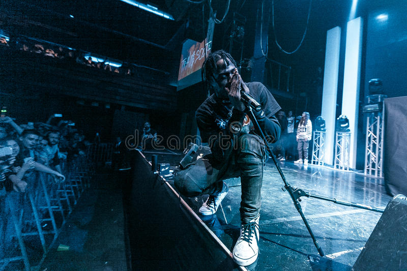 Travis Scott performing in Moscow. Travis Scott performing at Glavclub in Moscow on 6th of December 2014 royalty free stock image