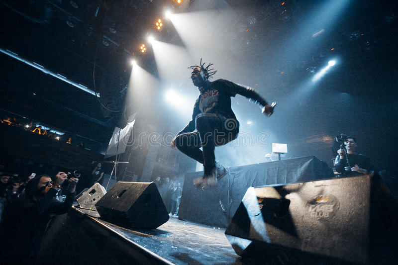 Travis Scott performing in Moscow. Travis Scott performing at Glavclub in Moscow on 6th of December 2014 stock photo