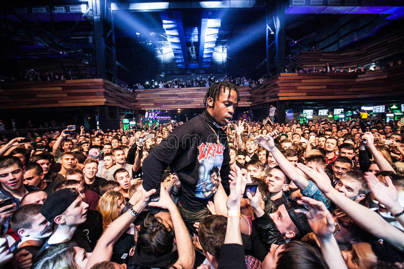 Travis Scott performing in Moscow. Travis Scott performing at Glavclub in Moscow on 6th of December 2014 royalty free stock photos