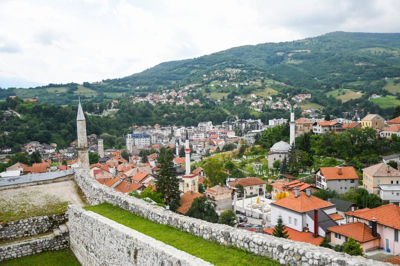 Travnik castle and Panoramic view of the city. Bosnia and Herzegovina stock photos