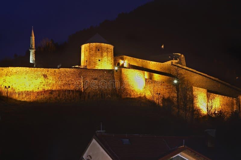 Travnik fästning stämma överens områdesområden som Bosnien gemet färgade greyed herzegovina inkluderar viktigt, planera ut territ royaltyfria bilder