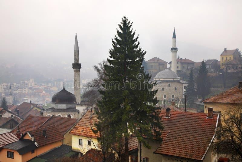 Travnik område moscow en panorama- sikt stämma överens områdesområden som Bosnien gemet färgade greyed herzegovina inkluderar vik royaltyfri fotografi