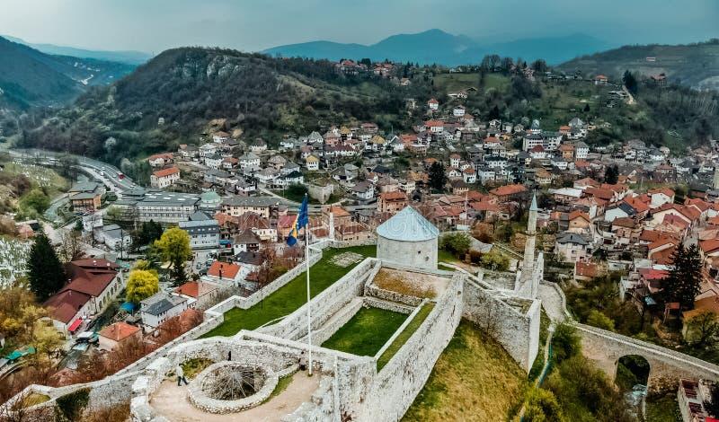 Travnik oude stad stock afbeeldingen
