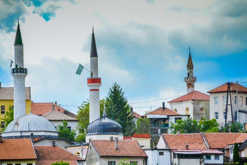 Travnik tres mezquitas foto de archivo