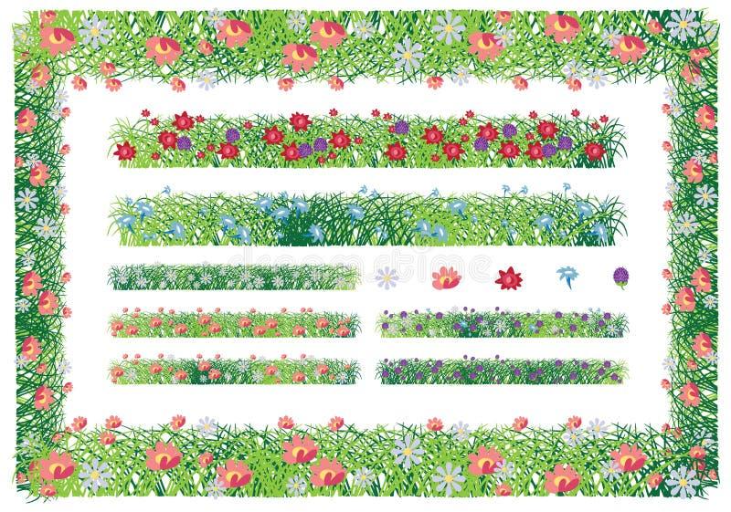 Trawa i kwiat rama royalty ilustracja