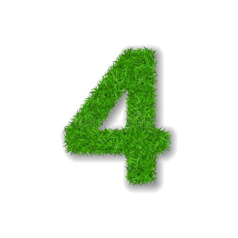 Trawa liczba cztery Zielony 3D liczba cztery, odizolowywająca na białym tle Zielona trawa 4, symbol świeża natura, roślina gazon ilustracja wektor