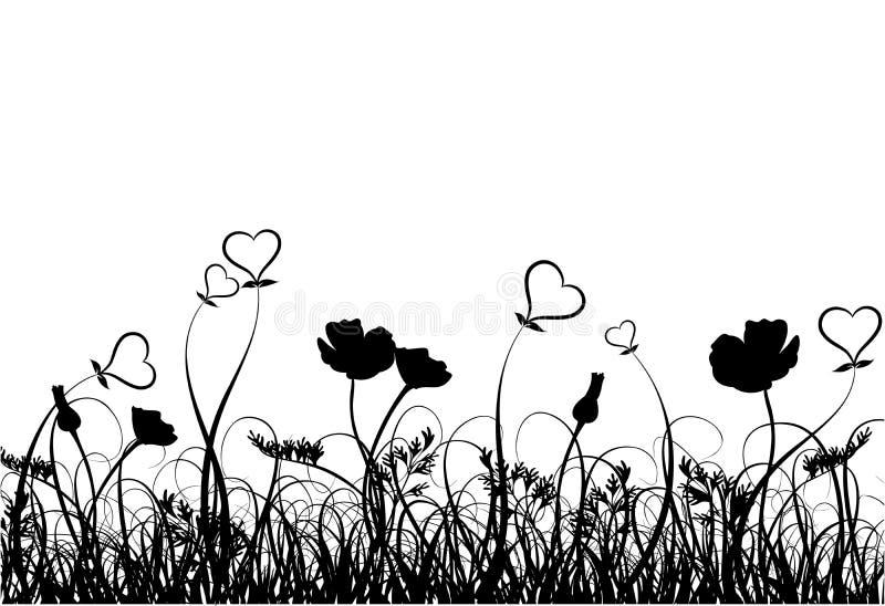trawa serce poppy wektora ilustracji