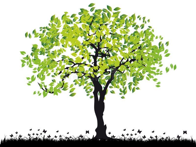 trawa sylwetki stare drzewo ilustracja wektor