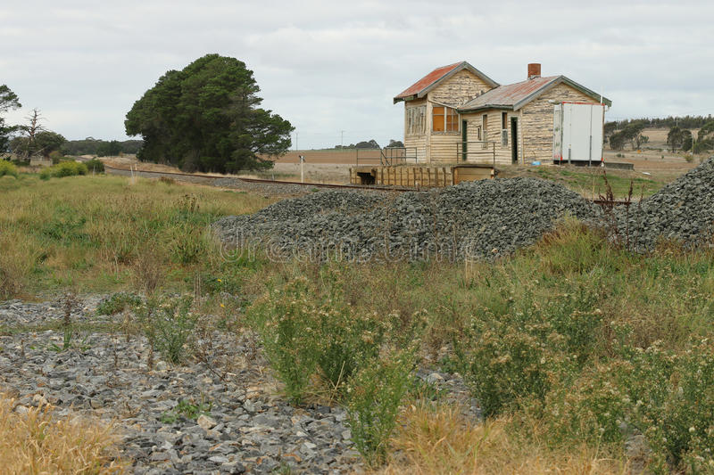 Trawalla railway station 1874 was closed as a passenger station in 1981. The derelict station building still stands. TRAWALLA, VICTORIA, AUSTRALIA - May 4, 2016 royalty free stock photography