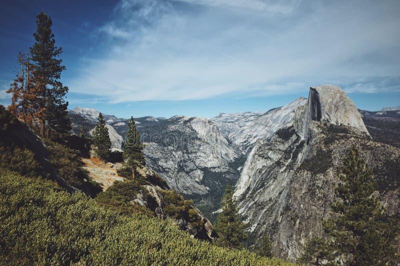 Trawiasty wzgórze z drzewami zbliża góry z niebieskim niebem w tle przy Yosemite parkiem narodowym zdjęcie royalty free