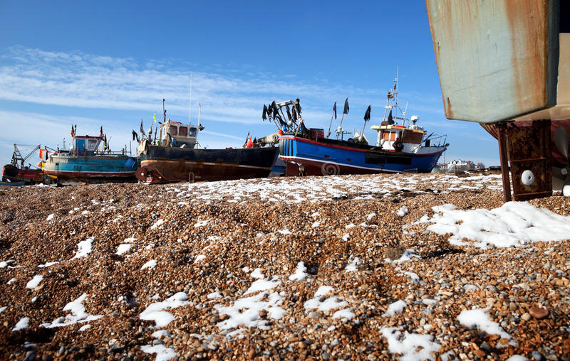 Trawler fishing boat industry Hastings England royalty free stock image