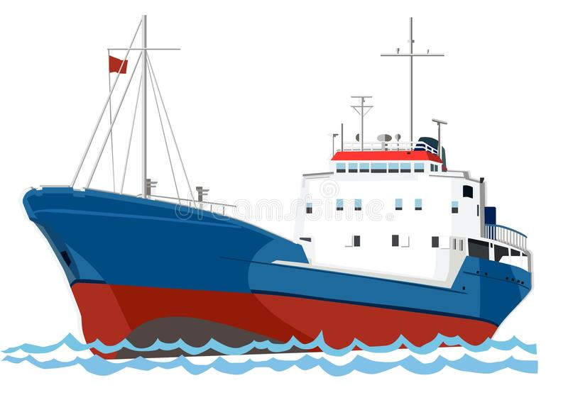 Trawler fishing boat. On the sea vector illustration