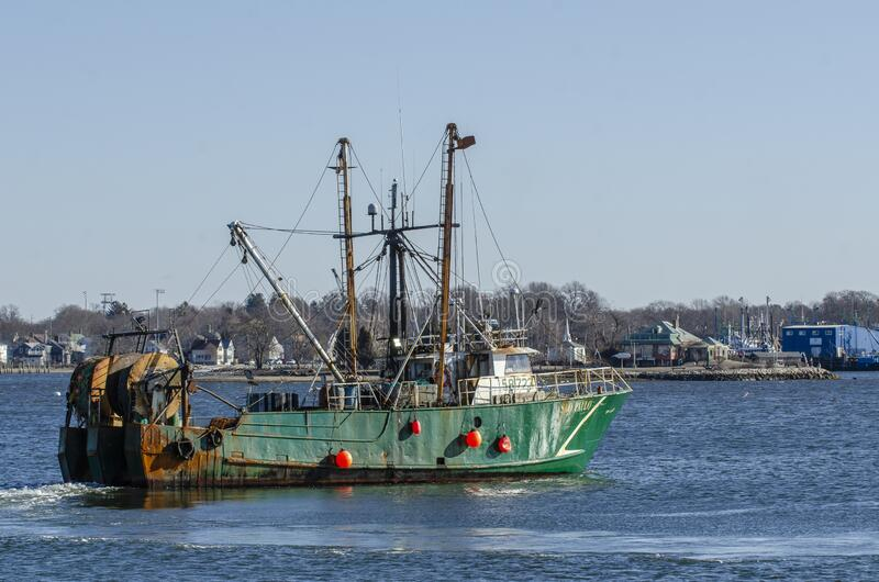Trawler Sao Paulo testing gear in New Bedford harbor stock photography