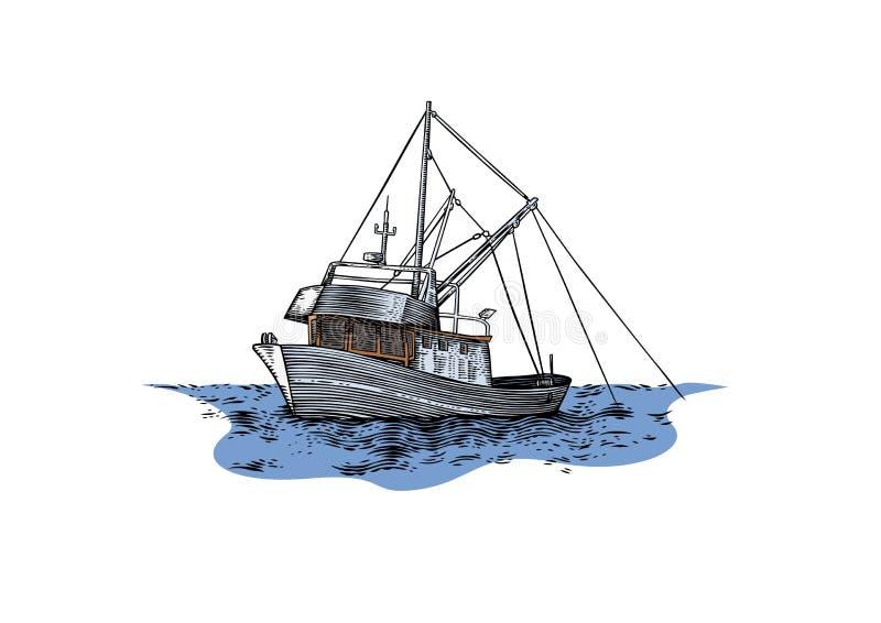 Trawler at the sea. Drawing of trawler fishing at the sea vector illustration