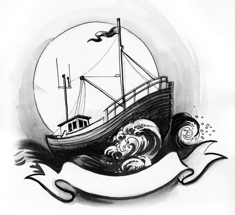 Trawler in the sea. Ink black and white illustration of a fishing trawler in the stormy sea with a black banner royalty free illustration