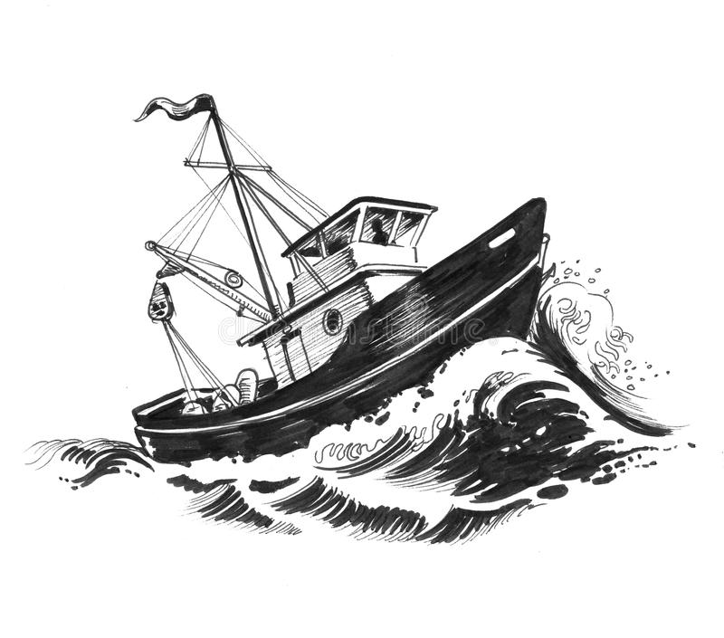 Trawler in the sea. Small fishing trawler ship in stormy sea. Ink black and white illustration vector illustration