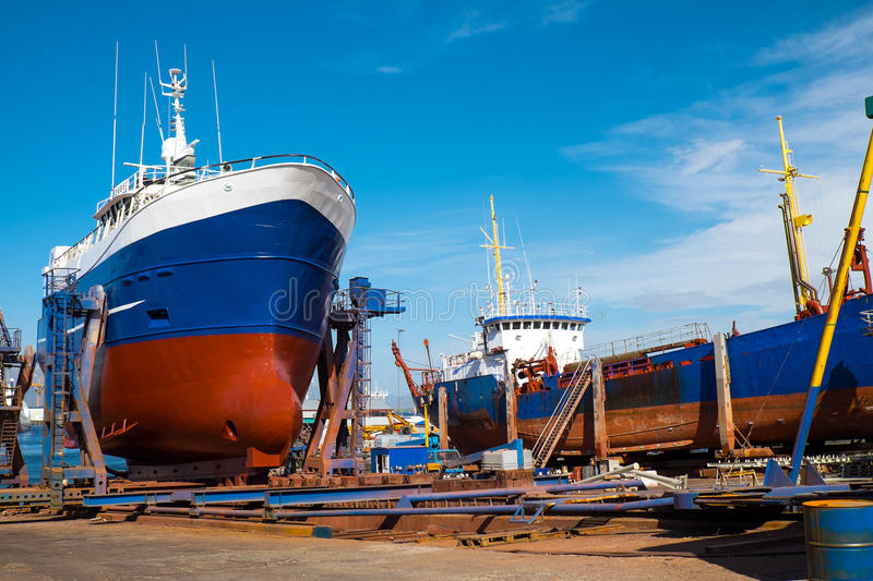 Trawlers at the drydock. Seen in Reykjavik, Iceland stock photography