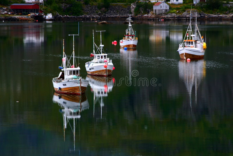 Trawlers in the lofoten islands stock photo