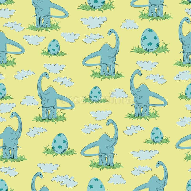 Trawożerny dinosaur i jajko w trawie na żółtym tle royalty ilustracja