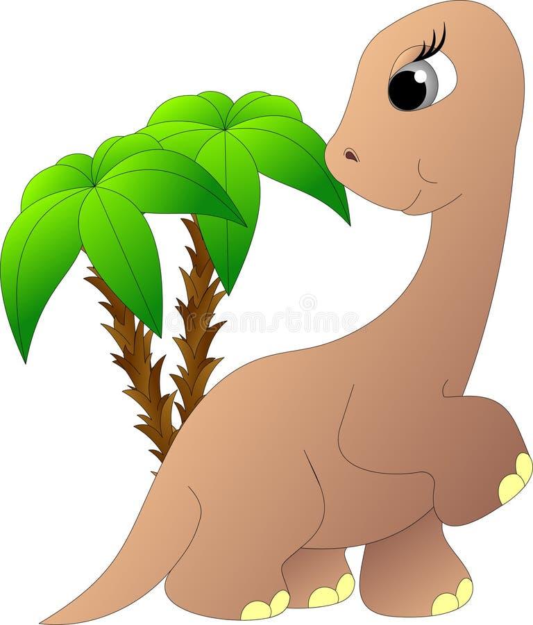 Trawożerny dinosaur z długą szyją wśród drzewek palmowych ilustracji