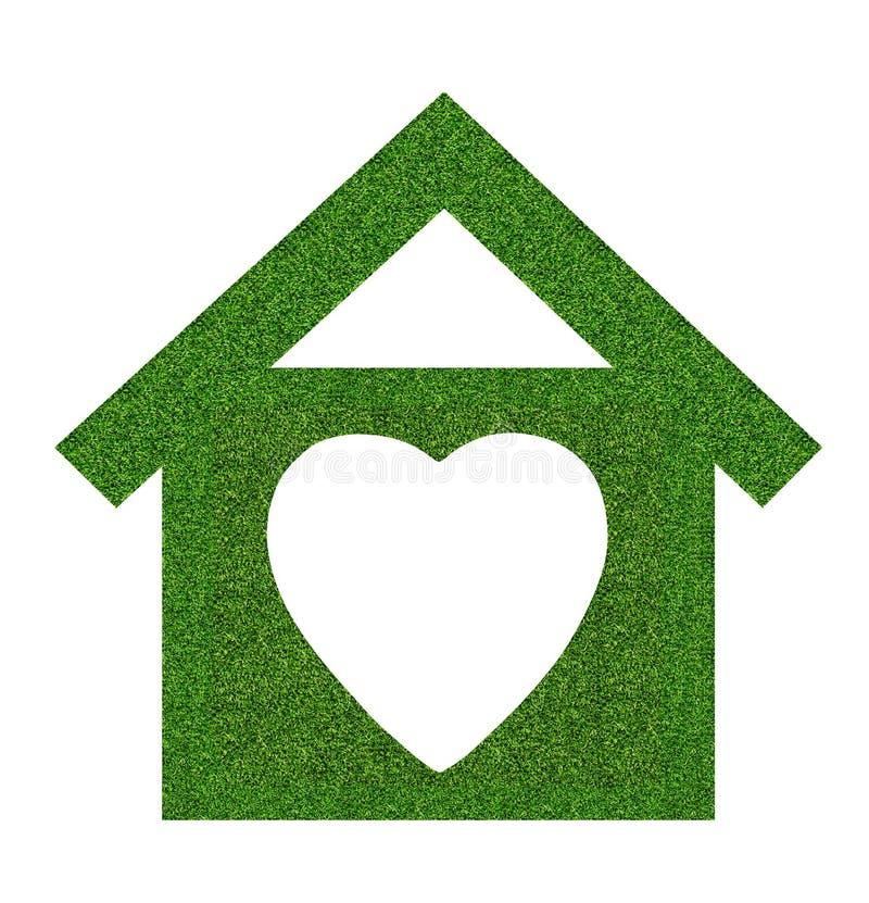 Trawy domowa ikona od trawy tła, odizolowywającego na bielu fotografia royalty free