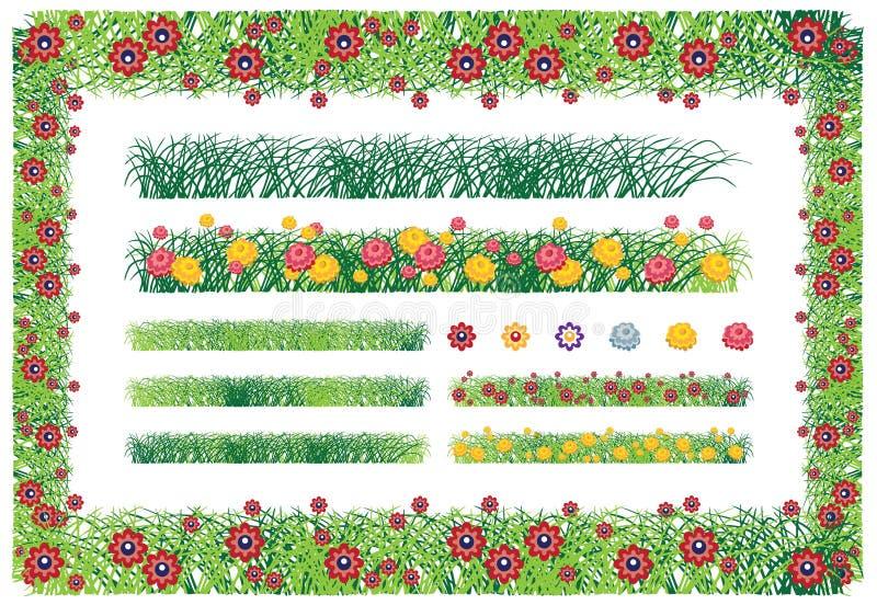 Trawy i kwiat róży rama royalty ilustracja