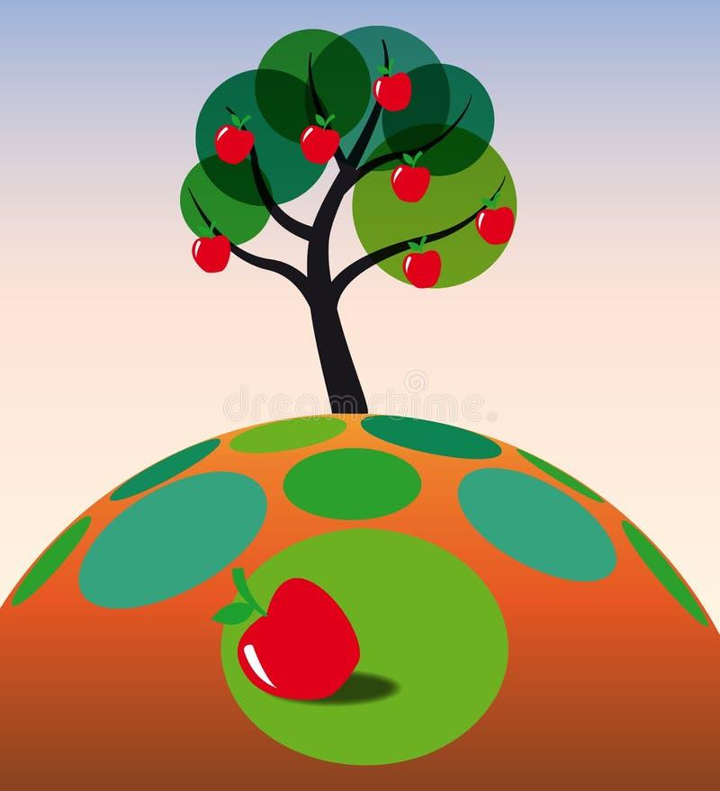 trawy jabłczany drzewo ilustracja wektor