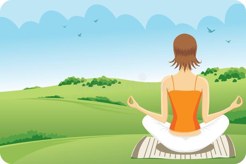 trawy joga ilustracja wektor
